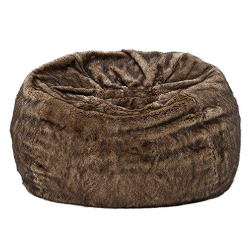 Meridian Soft Faux Fur Dark Brown Fabric Bean Bag Chair