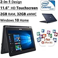 ASUS 11.6 HD 1366 x 768 Signature Edition 2 in 1 Touchscreen Laptop, Intel Celeron N3050, 2GB DDR3L, 32GB eMMC, 1.6GHz, WIFI, Bluetooth, HDMI, Webcam, Windows 10 Home, Dark Blue