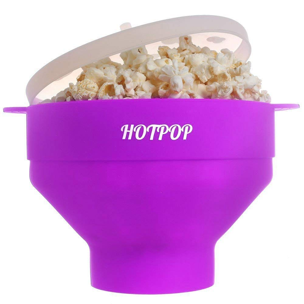 The Original HOTPOP Microwave Popcorn Popper, Silicone Popcorn Maker, Collapsible Bowl BPA Free & Dishwasher Safe (Purple)