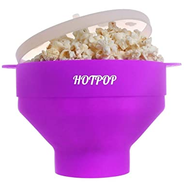 The Original HOTPOP Microwave Popcorn Popper, Silicone Popcorn Maker, Collapsible Bowl BPA Free & Dishwasher Safe (Purple)