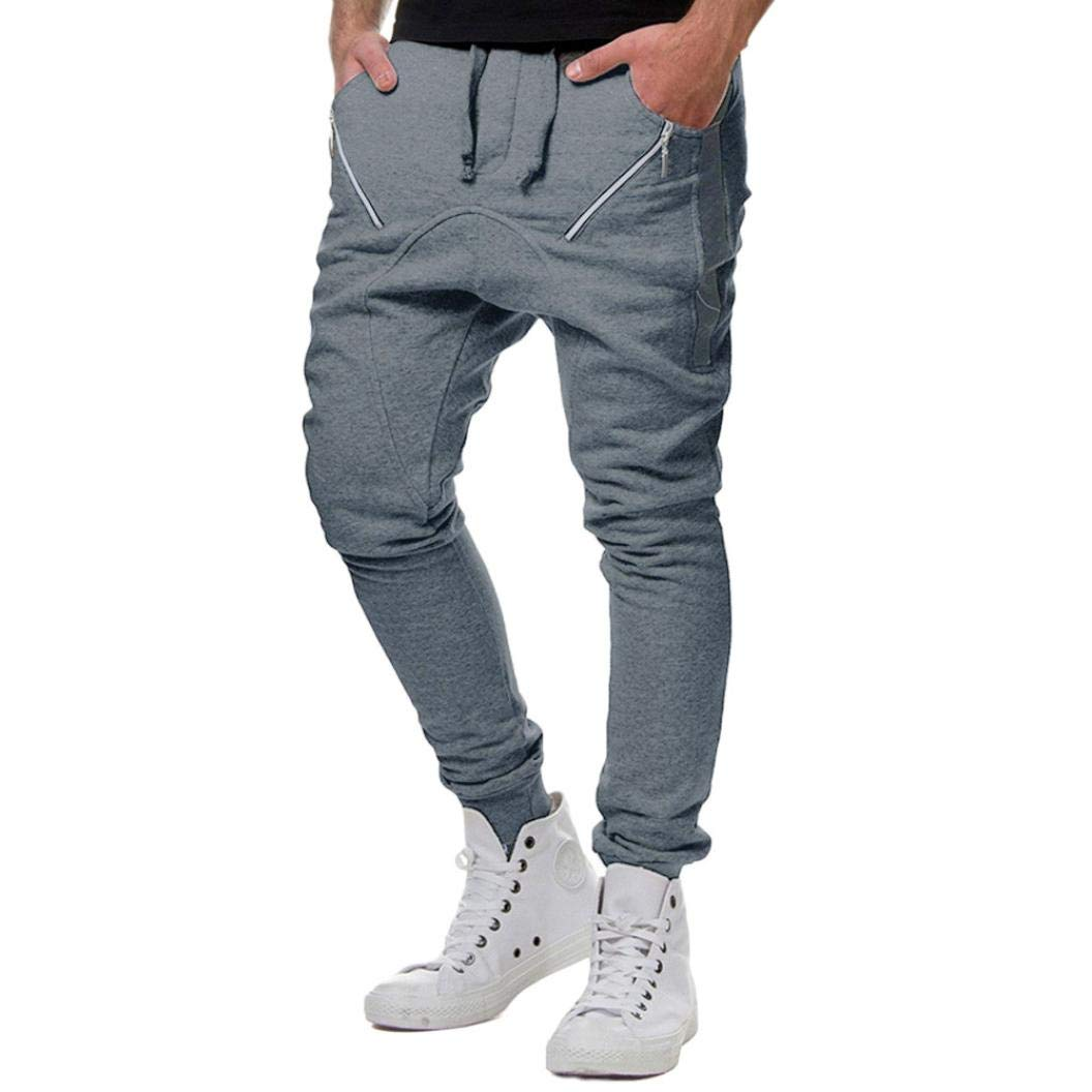 Realdo Clearance Sale, Casual Loose Camouflage Patchwork Contrast Elastic Waist Sports Mens Jogger Pants Trousers(Medium,Dark Gray)