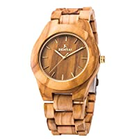 Men's Wooden Watch, Sentai Handmade Vintage Quartz Watches, Natural Wooden Wrist Watch (Olive Wood)
