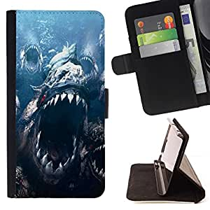Momo Phone Case / Flip Funda de Cuero Case Cover - Monster Mar Big Teeth Ocean Fish Blue Marine - Samsung ALPHA G850