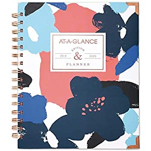 "AT-A-GLANCE 2019-2020 Academic Year Weekly & Monthly Planner, Medium, 7"" x 8-3/4"", Hardcover, Badge, Floral (6203F-805A)"