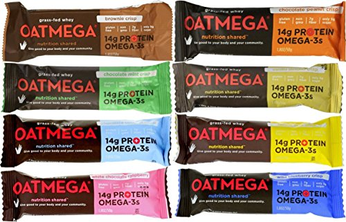 Boundless Nutrition Oatmega Grass-Fed Whey Bars 8 Flavor Variety Pack Pack of 8