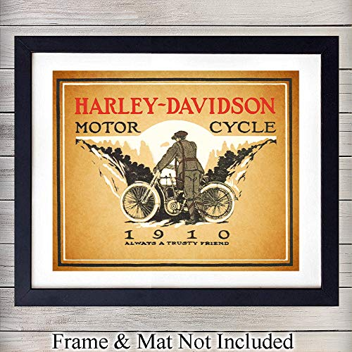 (Harley Davidson 1910 Unframed Wall Art Print - Perfect Gift For Motorcycle Enthusiasts, Great For Home Decor - Ready to Frame Vintage (8x10) Photo)