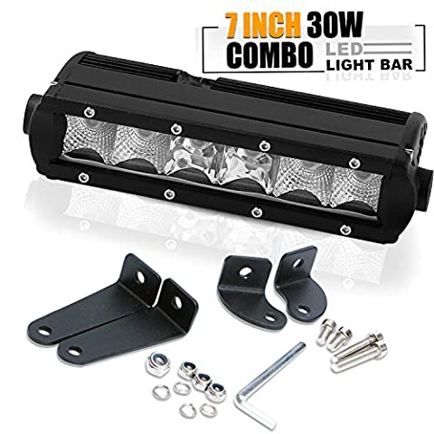 TURBOSII7 8 Inch Single Row Led Light Bar Slim Low Profile 2700lm 400m Visibility as Front/Rear Bumper Backup Reverse Headlight Off Road Light Fit ATV Boat Yamaha Raptor  Motorcycle Pontoon 4 - Chevrolet Avalanche 1500 Front Bumper
