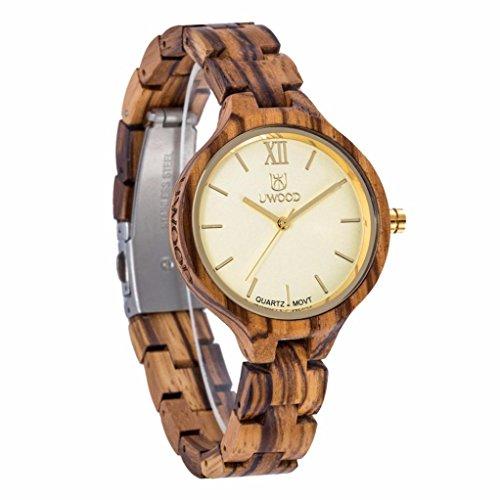 UWOOD Womens Sandal Wooden Quartz Watches Fashion Natural Wood Watch,A Unique Luxury Brand,Christmas Gift - Titanium Kickstarter