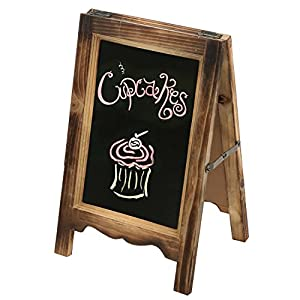 MyGift 15-inch Rustic Wood A-Frame Double-Sided Chalkboard Easel with Scalloped Bottom, Torched Brown