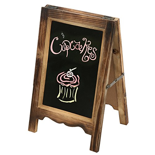 15 inch Rustic Wood A-Frame Double-Sided Chalkboard Easel with Scalloped Bottom, Torched Brown (Chalkboard Wood)