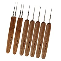 Homyl 7 Pieces Bamboo Hair Weaving Crochet Needles Hooks Dreadlock Tool Set 0.5mm