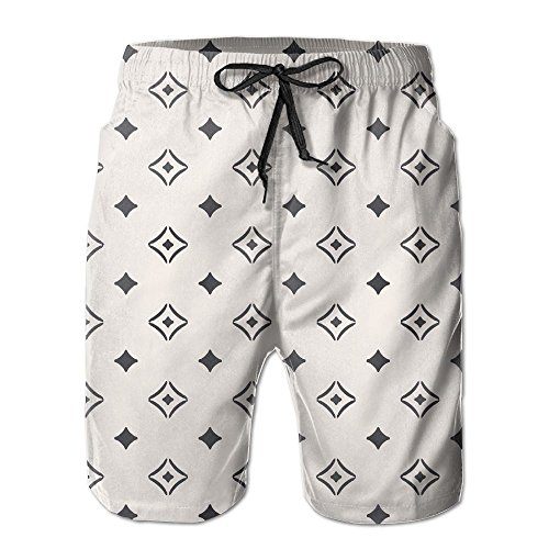 Richard-L Old Fashioned Wallpaper Design With Floral Like Geometrical Icons Summer Quick Dry Board/Beach Shorts For Men L