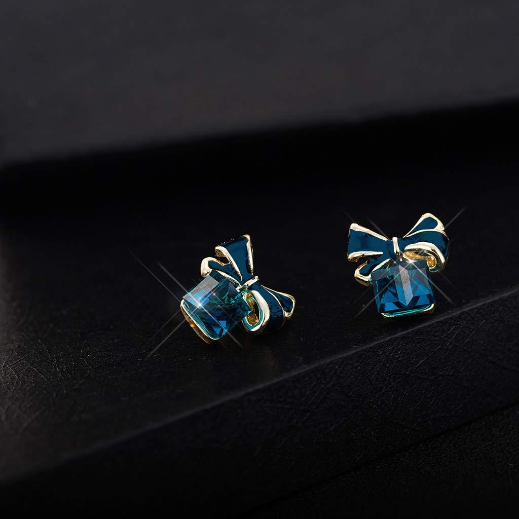 Jesse Crystal Blue Bow Cube Earrings Bowtie Stud Earrings for Women Fashion Jewelry