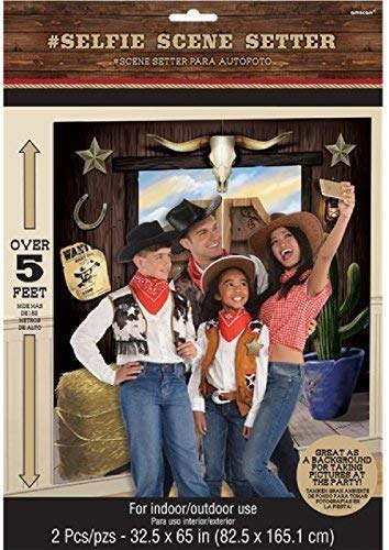 Fancy Me Western Wild West Scene Setter Party Decoration Backdrop Selfie Station Cowboys And Indians Over 5ft Indoor & Outdoor]()