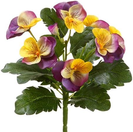 "8/"" Pansy Bush Flower Silk Plant Bouquet Decor Lavender Yellow Pack of 12"