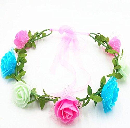 Sun Glower Ghirlanda Floreale Artificiale Fatta a Mano con Fiore Rosa a Fascia con Ribbon_Pink + Verde + Blu
