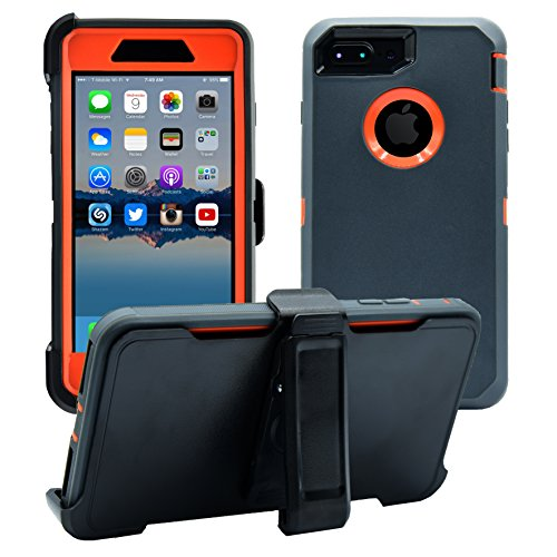 AlphaCell Cover compatible with iPhone 7 Plus/8 Plus (ONLY) | 2-in-1 Screen Protector & Holster Case | Full Body Military Grade Protection with Carrying Belt Clip | Shock-proof Protective