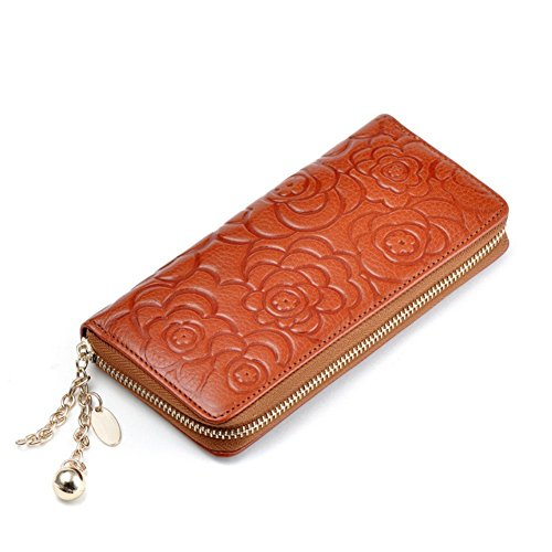 WCHUANG Women Long Leather Wallet Zipper Clutch Money Clip Purses Card Holder (Brown) (2015 Daily Planner With Zipper)