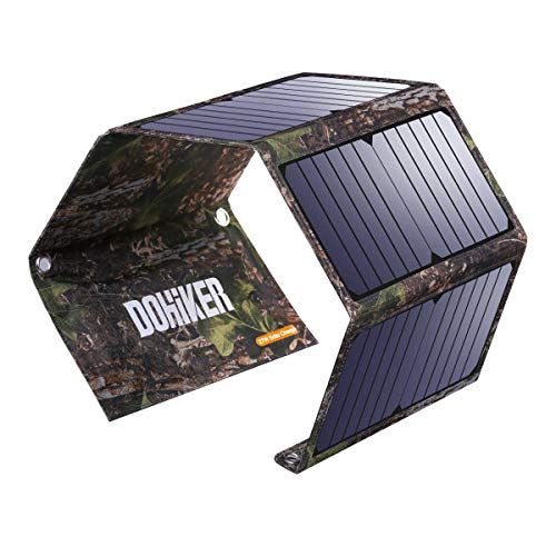 Dohiker Portable Foldable Solar Panel Charger, 14W Solar Phone Charger with 3 USB Ports,Durable & Waterproof Solar Charger for Cell Phone, PowerBank, and Electronic Devices, Great for Camping, Hiking