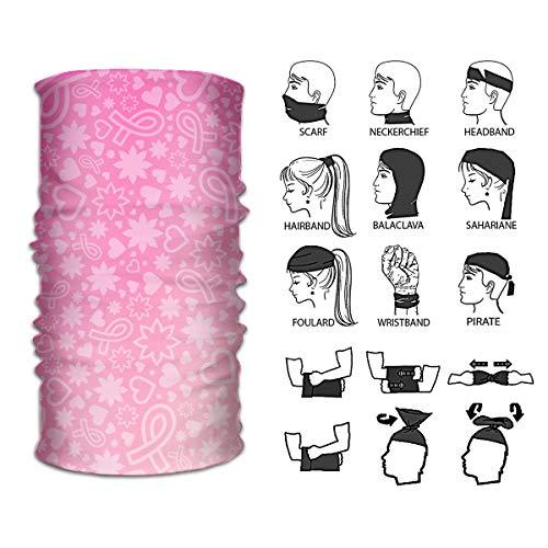 Queendesign Breast Cancer Awareness Neckwarmer Headwrap Mask Bandana Scarf Head Wrap Sport Headband Sweatband UV Protection Face Bandana Mask 12 in 1 Multi Function