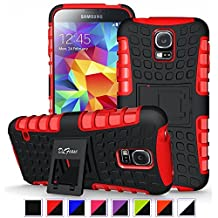S5 Case ,Galaxy S5 Case, DLF Case [ Shockproof ] Samsung Galaxy S5 Case Heavy Duty Rugged Dual Layer TPU Textured Non Slip Reinforced Polycarbonate Hybrid Case for Samsung Galaxy S5 with Kickstand (Black+Red)