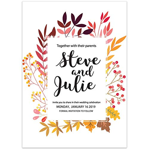 Fall Invitation Leaves Wedding (Fall Leaves Save the Date Card Wedding Invitation)