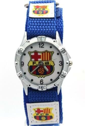 Timermall Barcelona FCB Blue Fabric Velcro Strap Analogue Sport Watch