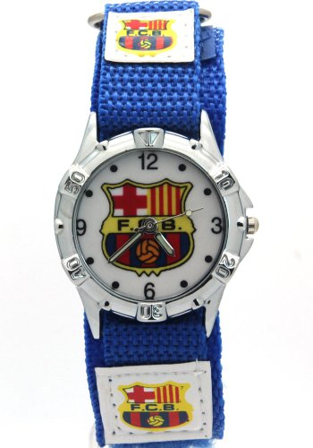 Timermall Barcelona FCB Blue Fabric Velcro Strap Analogue Sport Watch