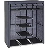 Best Choice Products 9-Shelf Portable Fabric Closet Wardrobe Storage Organizer w/Cover and Adjustable Rods - Gray