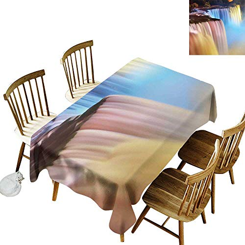 (Waterfall Rectangular tablecloths in a variety of colors and sizes Can be used for parties Niagara Falls Colorful Cascade Stream at Night View Waterfall Scenic Picture W60 x L102 Inch)