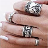 F-Store Vintage Retro Totem Silver Elephant Joint Knuckle Nail Ring Set of 4 Rings