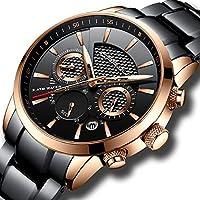 CRRJU Black Mens Date Analog Quartz Elegant Stainless Steel Wrist Watches