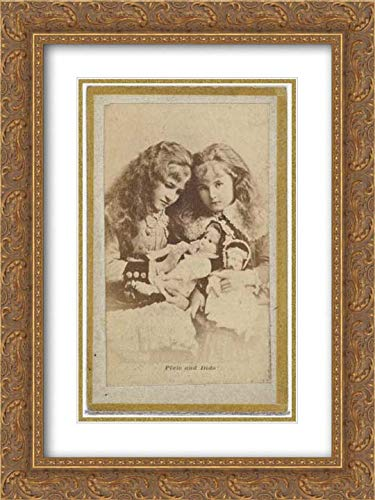 Allen & Ginter - 18x24 Gold Ornate Frame and Double Matted Museum Art Print - Pixie and Dido, from The Actresses and Celebrities Series (N60, Type 2) Promoting Little Beauties Cigarettes for Allen &