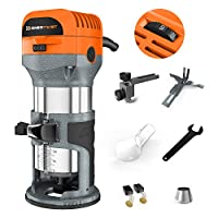 "Enertwist Compact Router Tool, 7.0-Amp 1.25HP Soft Start Variable Speed Wood Router Kit w/Fixed Base, 1/4"" & 3/8"" Collets, Edge Guide, Roller Guide, Dust Hood, Replacement Brush Set, ET-RT-710S"
