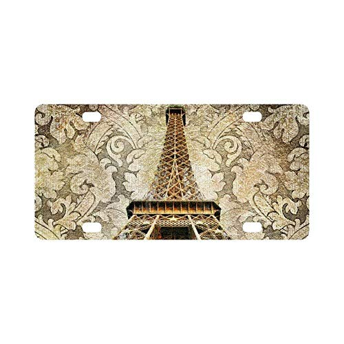Teisyouhu Vintage Parisian Eiffel Tower in Artistic Toned Design Metal Auto License Plate Frame Car Tag Holder Aluminum License Plate Cover for Car Front Back Decor ()