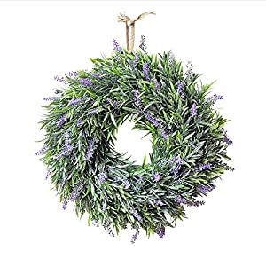 MARJON FlowersArtificial Lavender Flowers Wreath Wedding Party Festival Christmas Decoration Door Hanging Wall Window Decoration for Indoors and Outdoors 1