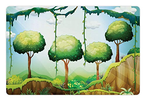 (Lunarable Woodland Pet Mat for Food and Water, Illustration of Trees and Hanging Leaves Plantation in The Forest with Sun Rays, Rectangle Non-Slip Rubber Mat for Dogs and Cats, Multicolor)