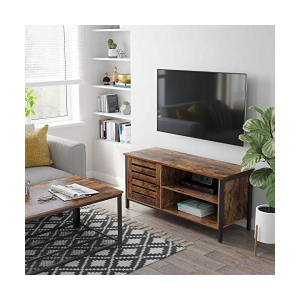 VASAGLE Meuble TV pour télévision Jusqu'à 55 Pouces, 1 Placard avec Porte persienne, 2 Compartiments Ouverts, pour Salon…