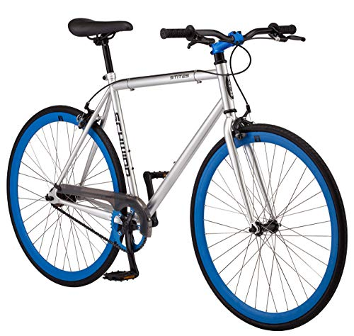 Schwinn Stites Single-Speed Fixie Bike, Featuring 55cm/Medium and 58cm/Large Steel Stand-Over Frame with 700c Wheels and Flip-Flop Hub, Perfect for Urban Commuting and City Riding, in White and Silver (Renewed)