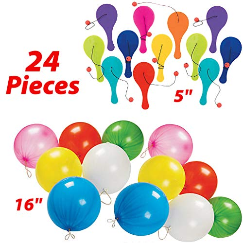 - Punch Balloons and Paddle Balls Party Favors for Kids - 24 Piece Game Set | 12 Punching Balloons + 12 Colorful MINI Paddleballs | Novelty Toys | Large Eco Friendly Punch Ball Balloons for Boys and Girls