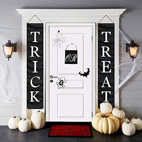 OurWarm 3pcs Trick or Treat Halloween Banner for Home Indoor/Outdoor Halloween Decorations, Halloween Trick or Treat Set Include Knitted Polyester, Wooden Rods and Black String