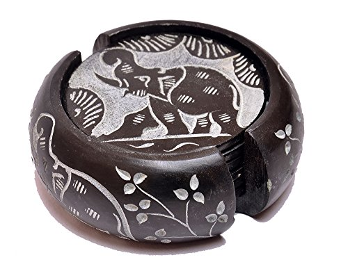 artist-haat-handcrafted-round-soapstone-coaster-with-elephant-design-carving-work-black-3x3-inch-set