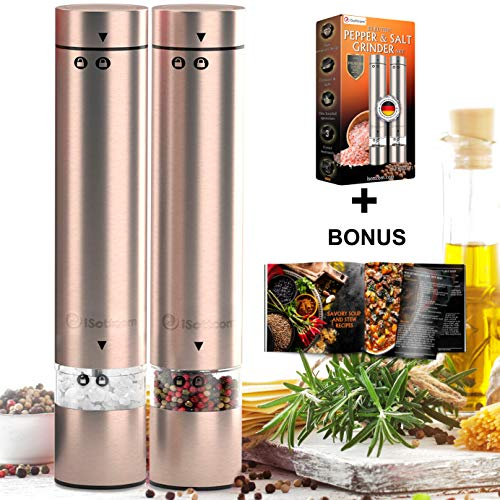 Electric Salt and Pepper Grinder Set | Premium Set of 2 Best Compact Electronic Stainless Steel Spice Mills for Coarse Seasoning | Small 4 AAA Battery Powered One-Handed Pepper & Salt Grinders