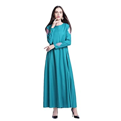 Haodasi Womens Kaftan Islamic Abaya Dress Muslim Islam Middle East Long Sleeve Printing Maxi Dress Arab