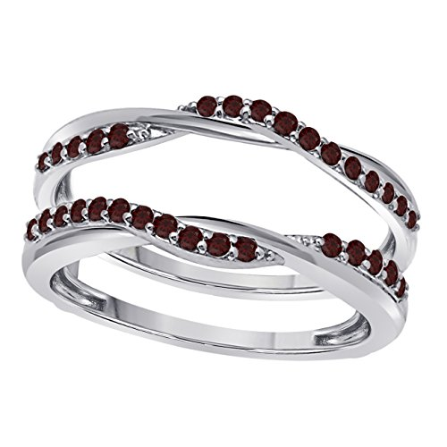 Jewelryhub Sterling Silver Delicate Bypass Infinity Style Vintage Wedding Ring Guard Enhancer with CZ Red Garnet (0.50 ct. tw.) ()