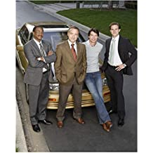 Carpoolers Jerry Minor, Fred Goss, Jerry O'Connell, and Tim Pepper with car 8 x 10 Inch Photo