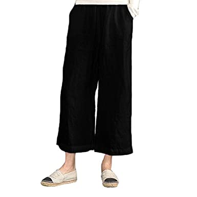 509a978bcd wodceeke Cotton Linen Elastic Waist Solid Color Pants Casual Loose Wide Leg  Pants with Pockets (
