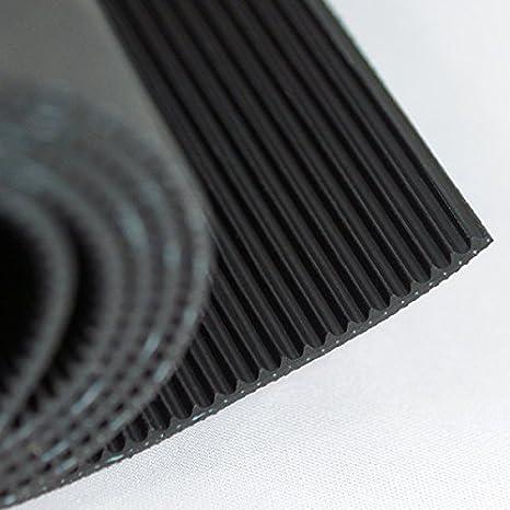Farbe: Schwarz Gr/ö/ße w/ählbar 3m/² 1,0 x 3,0m Feinriefenmatte mit Gewebeeinlage St/ärke: 3mm