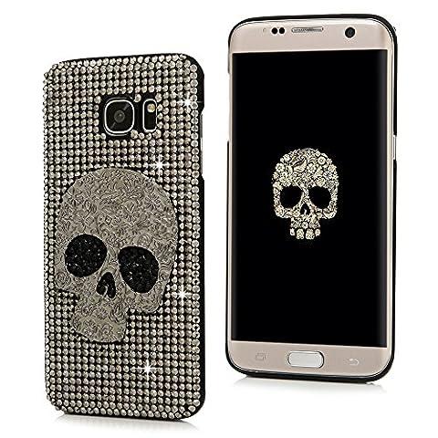 S7 Edge Case,Samsung Galaxy S7 Edge Case - Mavis's Diary Luxury 3D Handmade Bling Crystal Shiny Sparkle Glitter Diamonds Rhinestone Design Hard Black PC Cover with Protective - Juicy Full Diamond