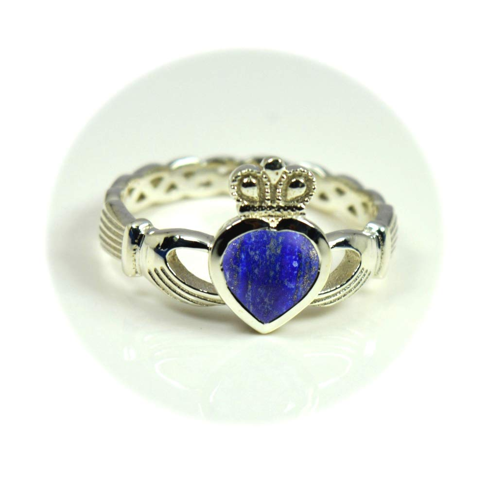 Choose Your Color Natural Gemstone Irish Claddagh Silver Ring Friendship Love 55 Carat Brand Size 5 to 12